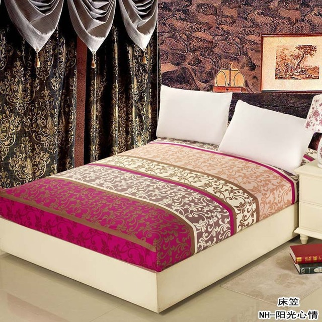 Ethnic Style Printed Fitted Sheet 100 Cotton Mattress Cover Bed