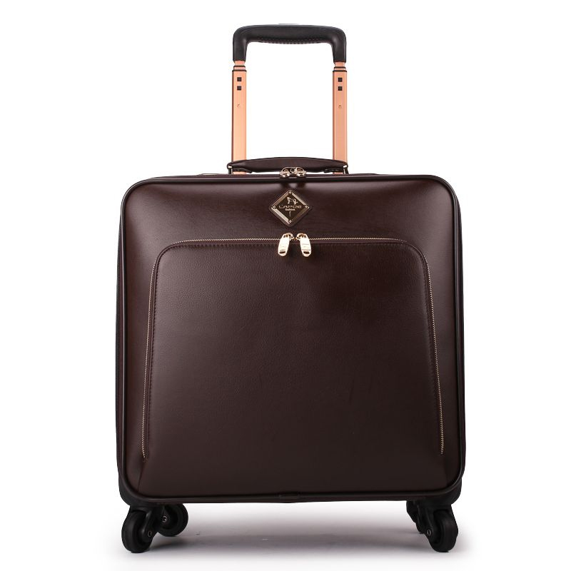 New 16 20 22 24 inch men business brand genuine leather hand luggage bag on wheels
