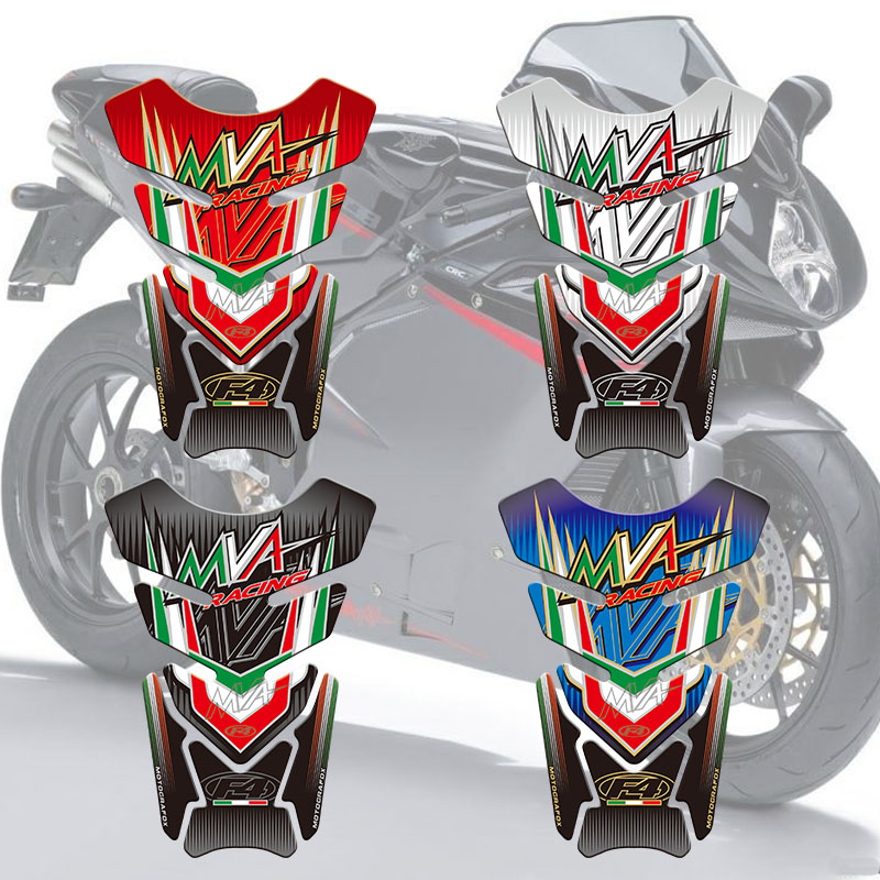 Motorcycle Tank Sticker Decals 3D Tank Pad Fishbone Protective Decals For MV Agusta 750 1000 F4 MVA
