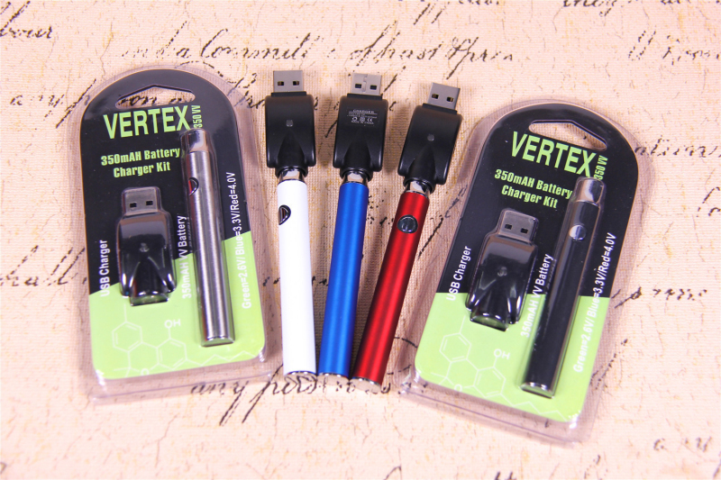 , Preheat Battery Vertex Blister Pack with USB Charger 350mAh Adjustable Voltage Preheating Bud 510 Battery for Vape Cartridge Kit