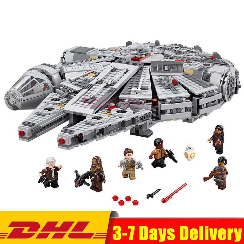 2018 DHL LEPIN 05007 Star Series War 1381pcs Millennium Falcon Toys Building Blocks Bricks Educational Toys Children Gift 10467 lepin 05007 stars series war 1381pcs force awakens millennium toys falcon diy set model building kits blocks bricks children toy