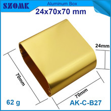 1 piece szomk electrical aluminium enclosure with round side golden instrument case 24 70 70mm