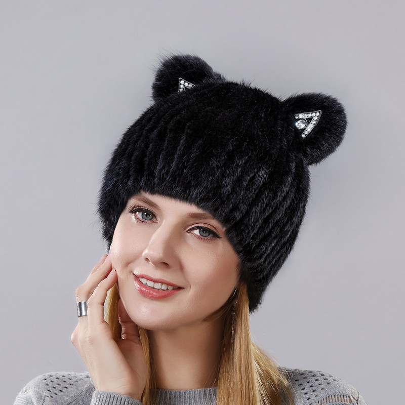 Fashion Winter New Style Mink Cat Ear With Sequins Warm Winter Cap For Women Real Natural Mink Fur Vertical Weaving Winter Hat