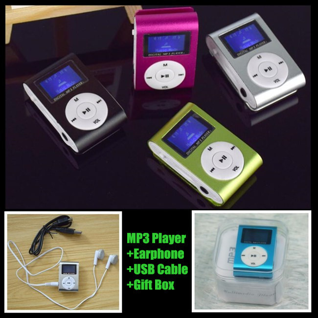 300p!Alloy Clip LCD Screen MP3 Music Player,External Inserted Micro TF/SD Card Slot,Support 1-8GB,Earphone+USB Cable+Crystal Box
