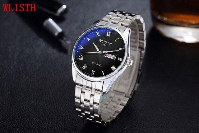 Wlisth transporte da gota livre 2017 mais novo de venda quente marca de alta qualidade dos homens das mulheres relógio com calendário de aço inoxidável relógio de pulso