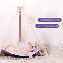 Simple Tripod Hammock For Cats Puppy Dogs Lazy Cat Hammock Bed House Cottages Cat Lounger Pet Linen Mat Cat Cushion(China)