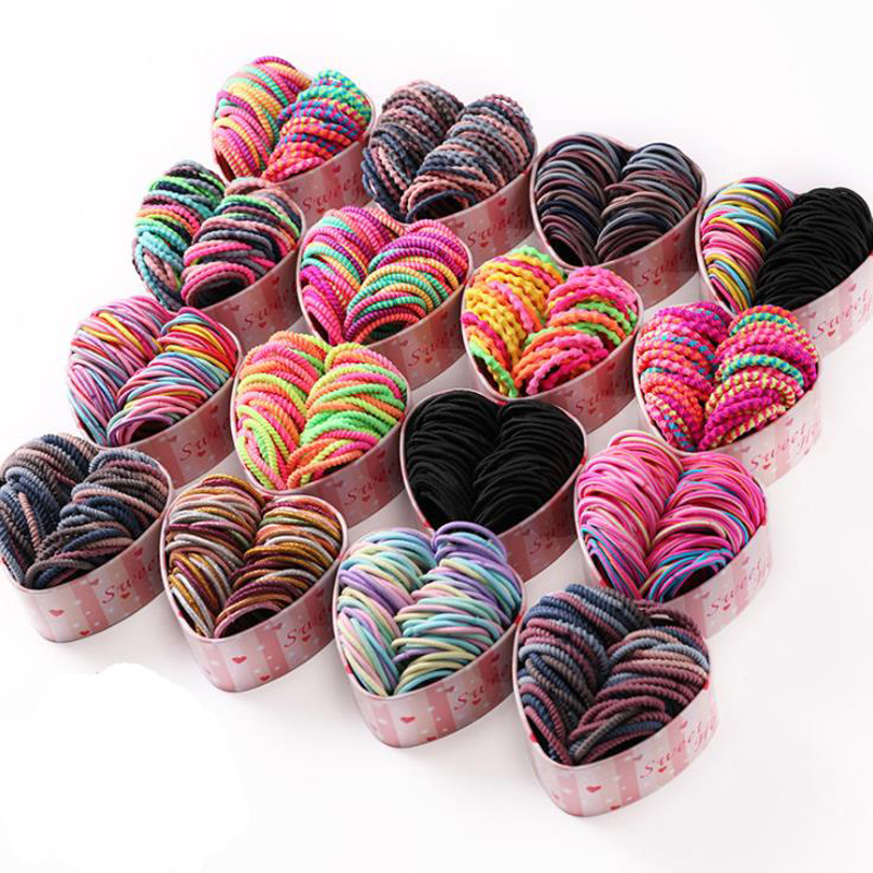 50Pcs/Box Children High Elastic Rubber Bands Girls Colorful Hair Bands Lovely Simple Lace Headbands Fashion Hair Accessories
