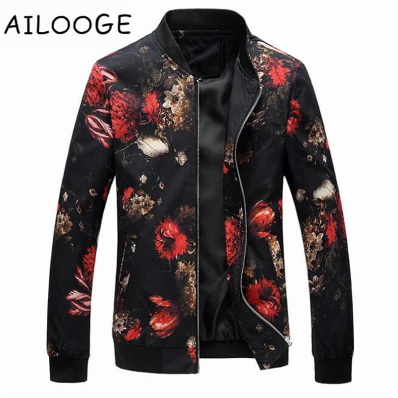 Floral Jacket Coat Men Flower Printed Mens Bomber Jackets Plus Size 5XL Windbreakers Coats Casual Slim Fit Baseball Jackets Male