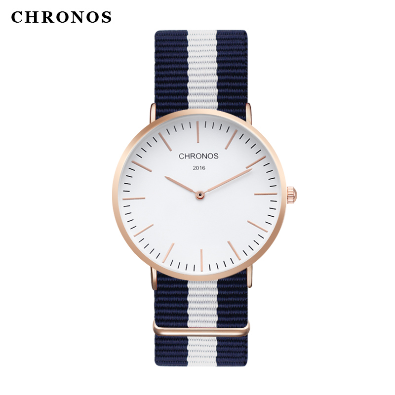 50PCS/LOT Men Women Watches Top Brand Luxury CHRONOS Quartz Watch Nylon Rose Gold Clock Relojes Mujer Montre Femme Horloge