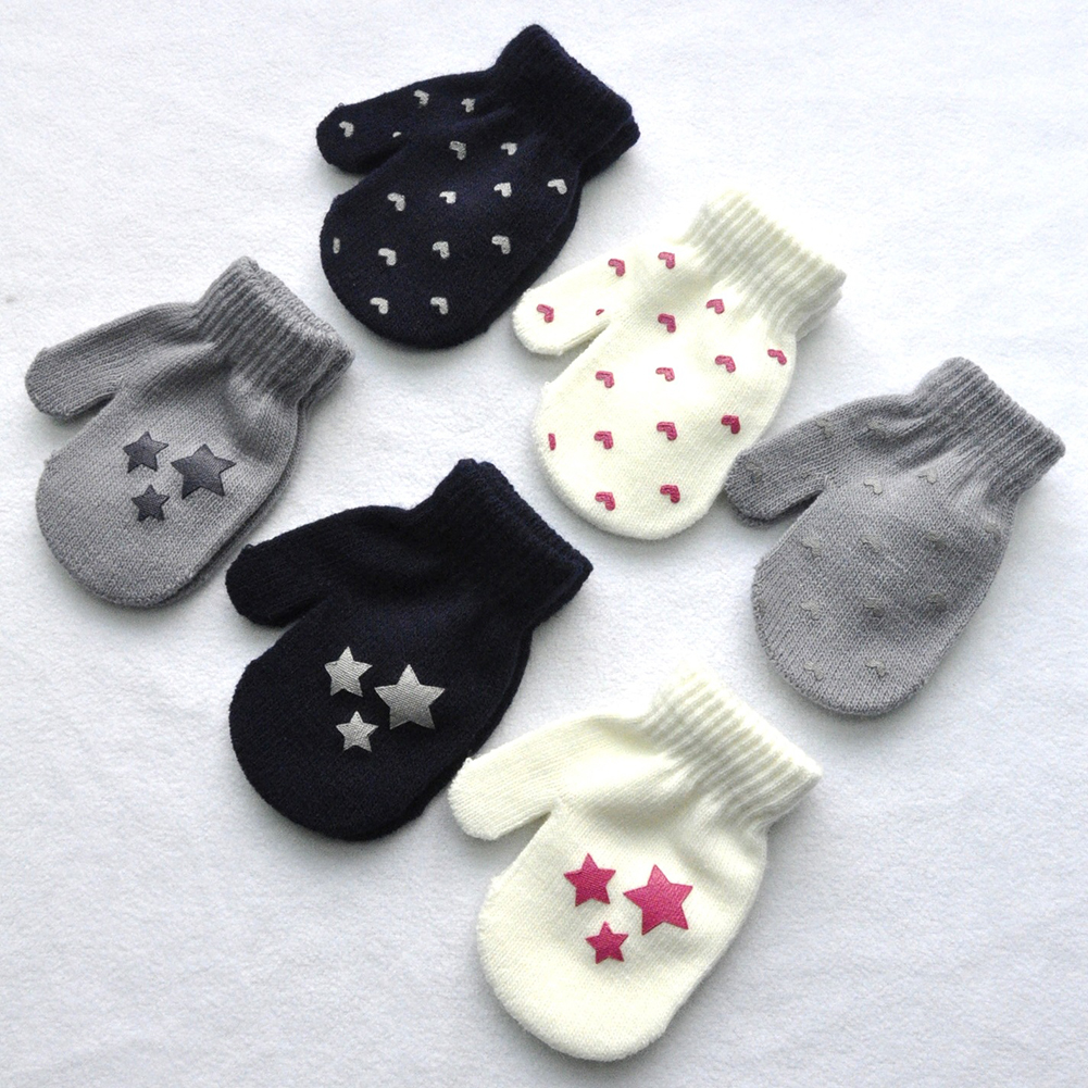 Kid Star Heart Pattern Fashion Gloves Boys Girls Winter Warm Knitted Mitten