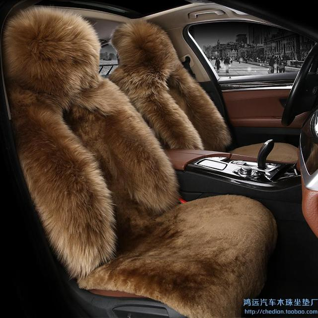 Winter New Arrival Sheep Fur Car Seat Cover Cushion Low Profile Luxury 5 Seats Covers For