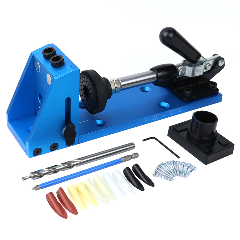 Kit de gabarit de trou de poche système de gabarit de Doweling 9.5mm ensemble de forets Guide de forage assemblage trou de forage pour menuiserie outils de travail du bois