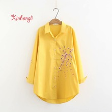 Plus size Plum blossom Embroidery cotton women shirts 2019 spring NEW casual