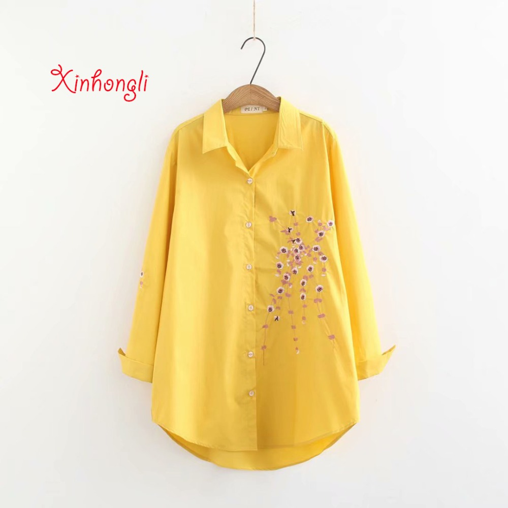 Plus Size Plum Blossom Embroidery Cotton Women Shirts 2019 Spring NEW Casual Ladies Loose Blouse Female Yellow Pink Blue Beige