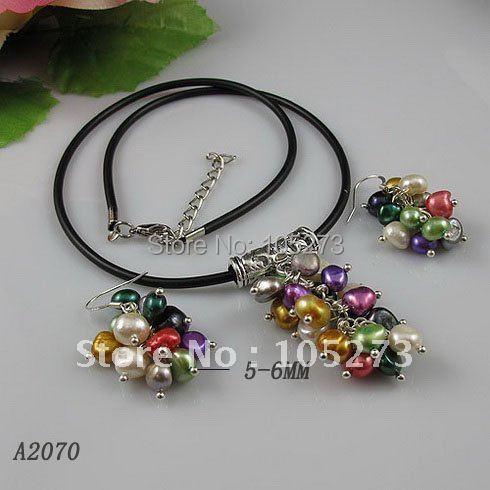 Ensemble de bijoux élégant en gros AA 5-6 MM multicolore eau douce collier de perles boucle d'oreille offre spéciale livraison gratuite 10 ensemble/lot