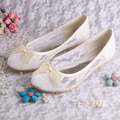 Wedopus MW029 Ladies Ivory Lace Ballerina Flats Bridal Wedding Shoes Women with Bows Size 42