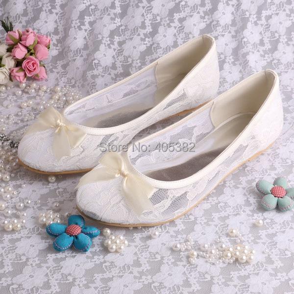 Wedopus MW029 Ladies Ivory Lace Ballerina Flats Bridal Wedding Shoes ...