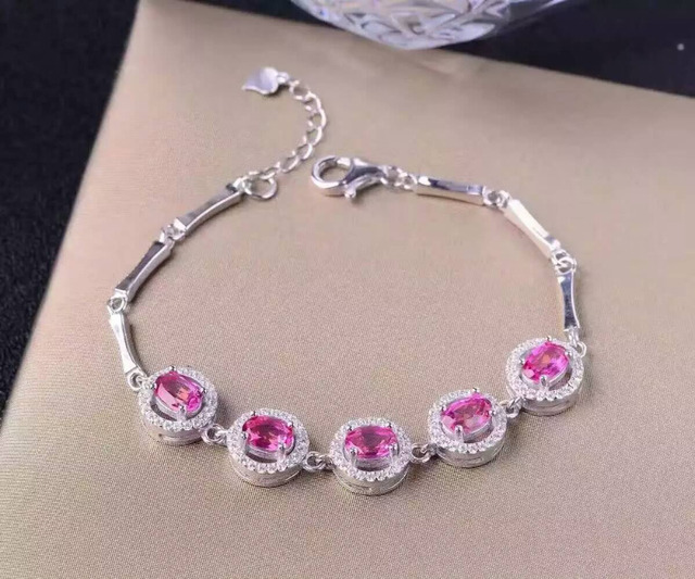 Natural Pink Topaz Gem Bracelet Gemstone 925 Silver Female Fashion Elegant Round Party