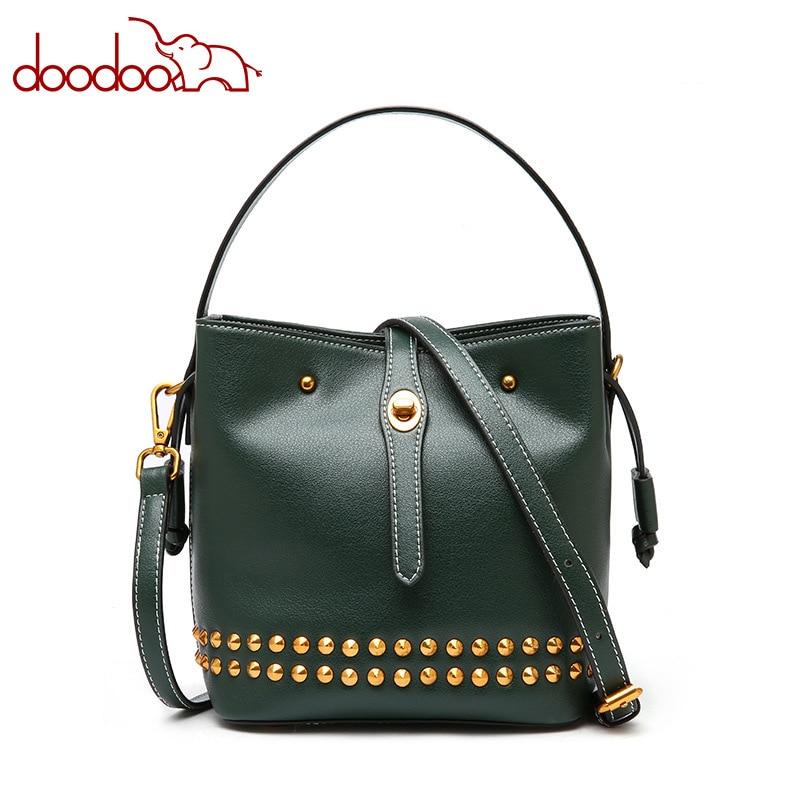 Leather handbags Korean version of the rivet leather bucket bag trend single shoulder diagonal package wild handbag