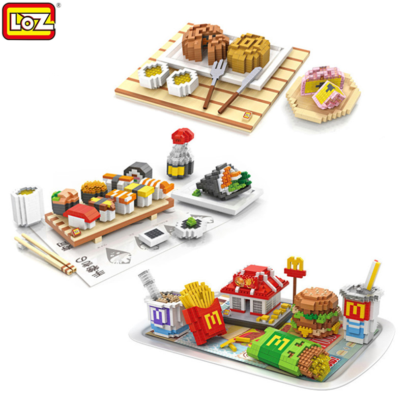 LOZ Creator Educational Brick DIY Assembly Building Blocks Japanese Food  Hamburger blocks Toys Children Best Gifts For Boy decool 3114 city creator 3in1 vehicle transporter building block 264pcs diy educational toys for children compatible legoe