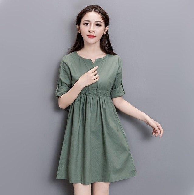 Осень сплошной цвет хлопка белье высокая талия плиссе dress весна хлопок белье случайные крупных женщин размер платья 3xl