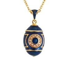 Hottest Enamel Handmade Jewelry Brass Faberge Egg Pendant Charm Crystal Rhinestone Necklace Gift To Women free shipping