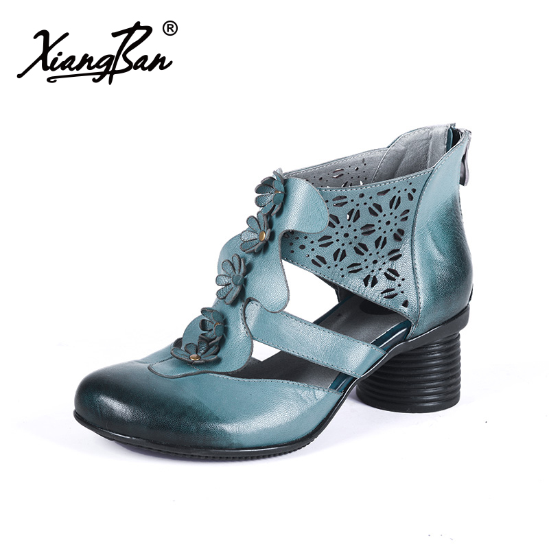 Rome Style Women Sandals Leather Blue High Heel Ankle Cool Boots Elegant Thick Heel Sandals For Women Dropshipping fashionable pu leather and stiletto heel design sandals for women
