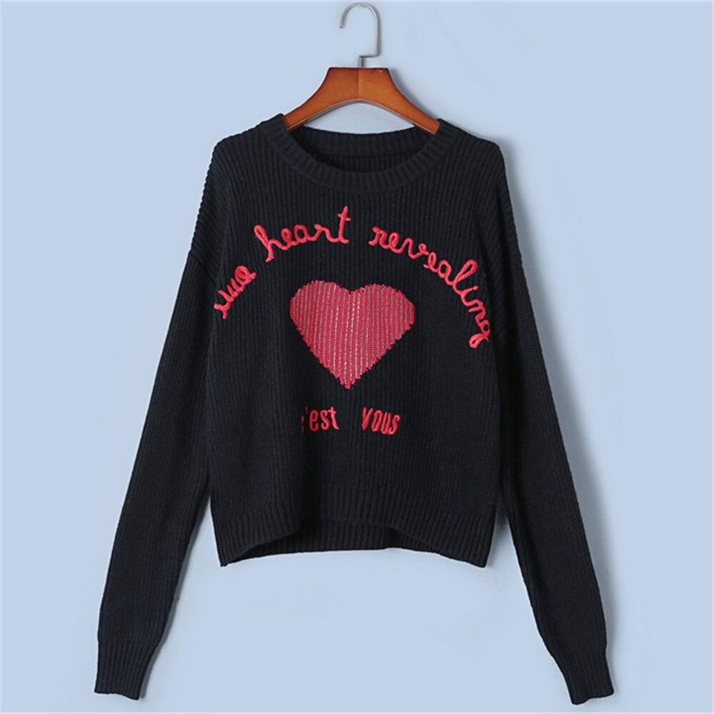 Tunjuefs Jersey Top Jacquard Pista Suelto Diseño Lolita Bordado Suéter Black De Corazón Invierno Mujeres Carta 4YHr4wxB