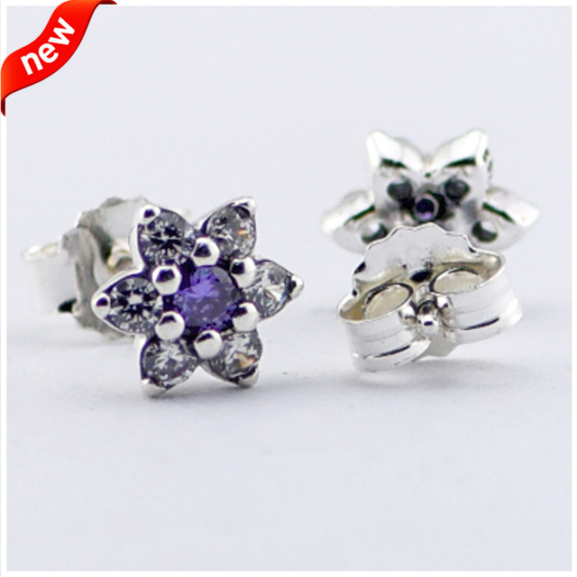 Forget Me Not Stud Earrings With Purple and Clear Cubic Zirconia 100% 925 Sterling Silver Fine Jewelry For Women Free Shipping