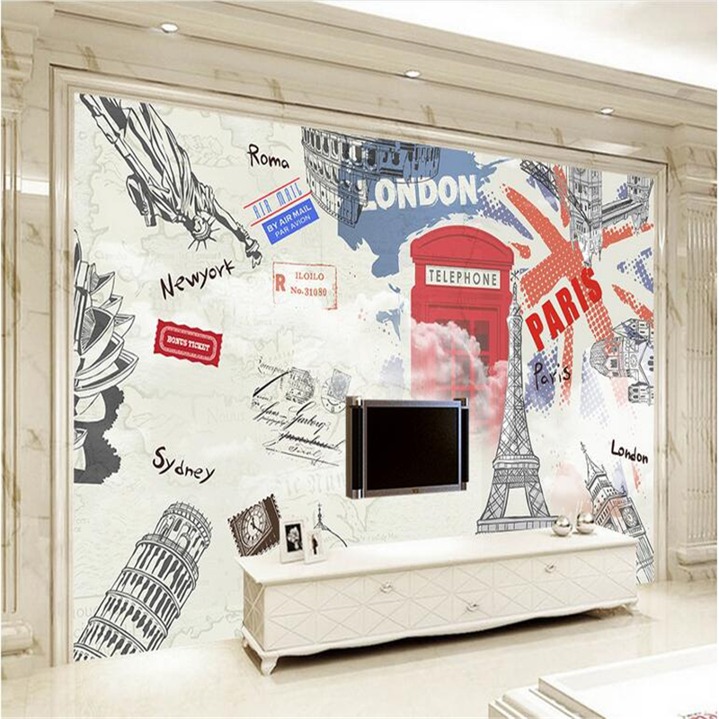 Custom any Size European Style Wallpaper Hand-Painted Eiffel Tower Photo Wall Mural Modern 3d Wallpaper for Living Room Kitchen custom any size modern wall wallpaper eiffel tower arches leaves luxury wall covering bedroom mural background wallpapers