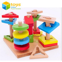 DIY Wooden Multi color Wisdom Plate Model Wood Stacking Building Blocks Early Learning Educational Toys for Children Kids Gifts