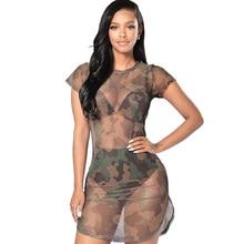 Women Camouflage Print Mesh Bodycon Dress 2019 Sexy O-Neck See Through Short Sleeve Beach Night Club Party Mini Dresses Vestidos