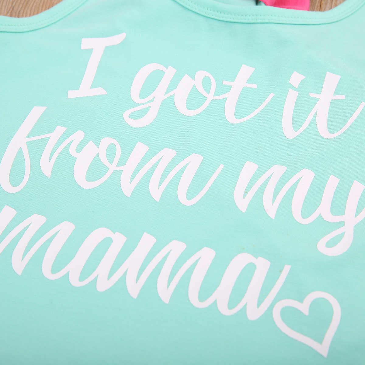 חדש 2017 קיץ אמא ובנות מקרית אמא ילדי רחוב ללבוש מכתב חולצות עניבת פרפר טנק אפוד משפחת בגדי תלבושות