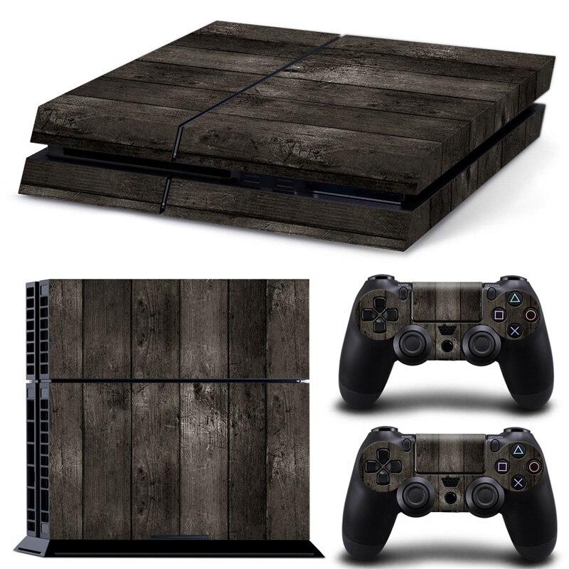 Черный Деревянный Дизайн для PS4 Консоли и Два Контроллера Кожи Наклейка для PS4 Наклейки Игры Защитная Наклейка # TN-PS4-1936