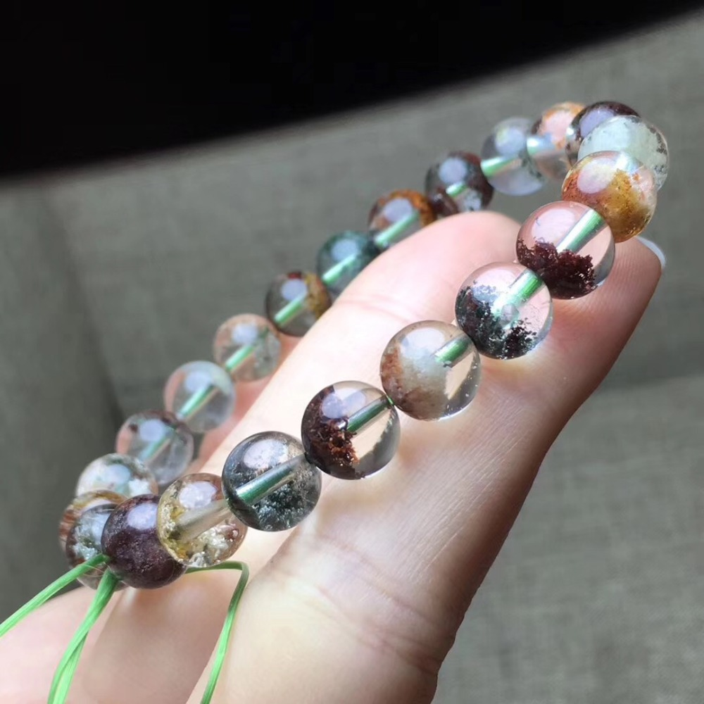 8.7mm Natural Colorful Phantom Quartz Bracelet Round Beads For Women Lady Gift Gemstone Stretch Crystal Fashion Bracelets AAAAA8.7mm Natural Colorful Phantom Quartz Bracelet Round Beads For Women Lady Gift Gemstone Stretch Crystal Fashion Bracelets AAAAA