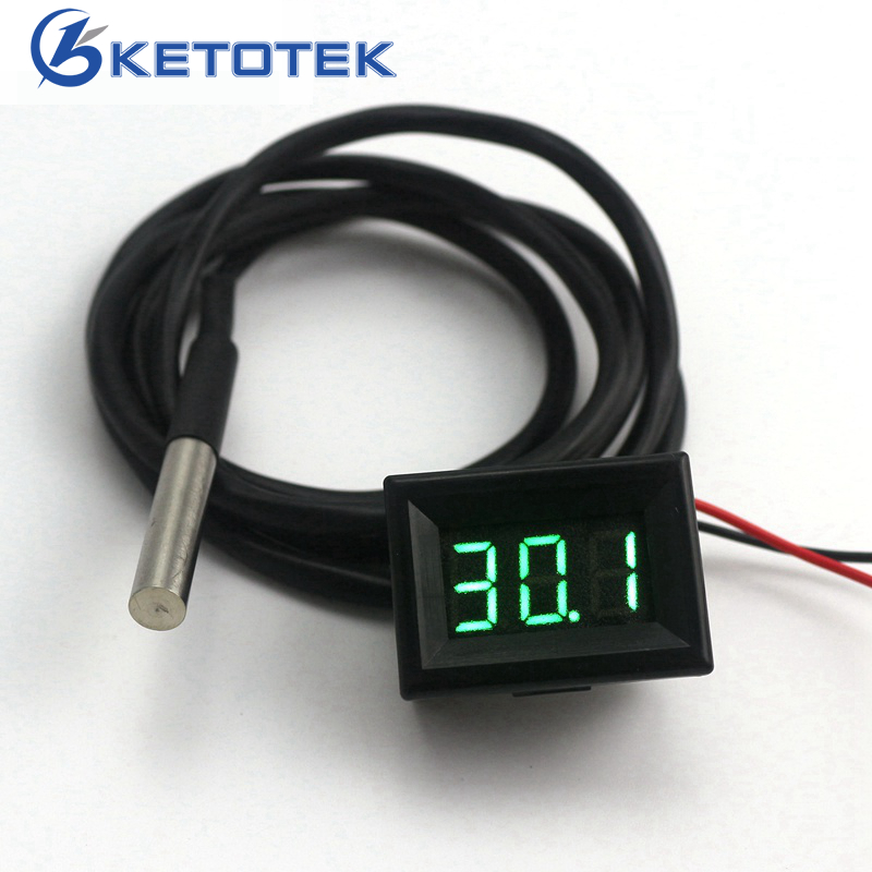 Green LED Mini Temperature Meter DC 12V 24V Digital Thermometer 1m DS18B20 Sensor mf diy ds18b20 thermometer temperature sensor module for funduino green black