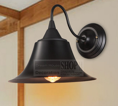 cheapest wholesale free shipping vintage industrial lighting wall light e27 country small black