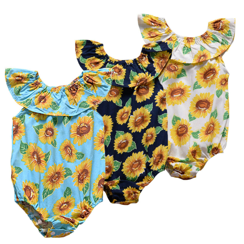Sunflower   Romper   Outfit for Newborn Baby Girls Off The Shoulder   Rompers   Jumpsuit One Piece Sunsuit Outfit 0-24M