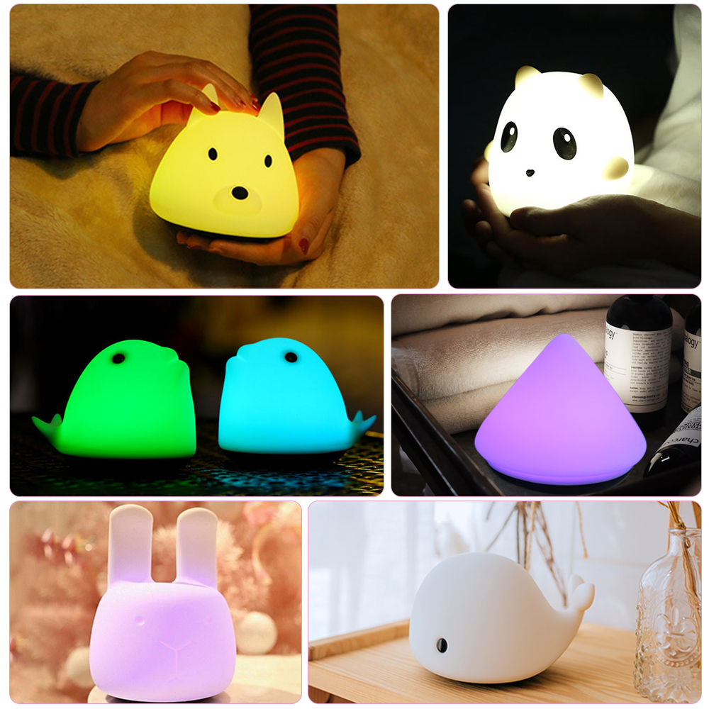 Silicone LED Night Light Bunny Panda Cute Animal 8 Colors USB Rechargeable pat Lamp Kids Baby GiftSilicone LED Night Light Bunny Panda Cute Animal 8 Colors USB Rechargeable pat Lamp Kids Baby Gift