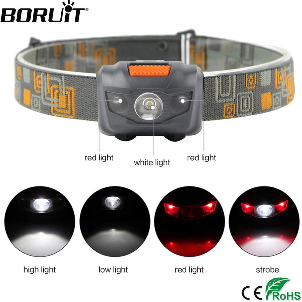 BORUiT W03 Red White LED 3W 150 LM Mini Headlamp 4-Mod Ketua Obor Lampu Kalis Air Memburu Lampu Suluh Camping Lantern