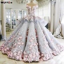 Luxur WJFFKS 2019 Colorido vestido de Baile Vestidos De Noiva Apliques de Flores Cor de Rosa Do Vestido de Casamento Vestidos de Noiva Robe De Mariee