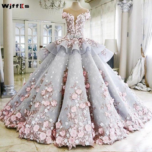 Wjffks 2019 Kleurrijke Luxur Baljurk Vestidos De Noiva Applicaties Roze Bloemen Trouwjurk Robe Mariee Bruidsjurken