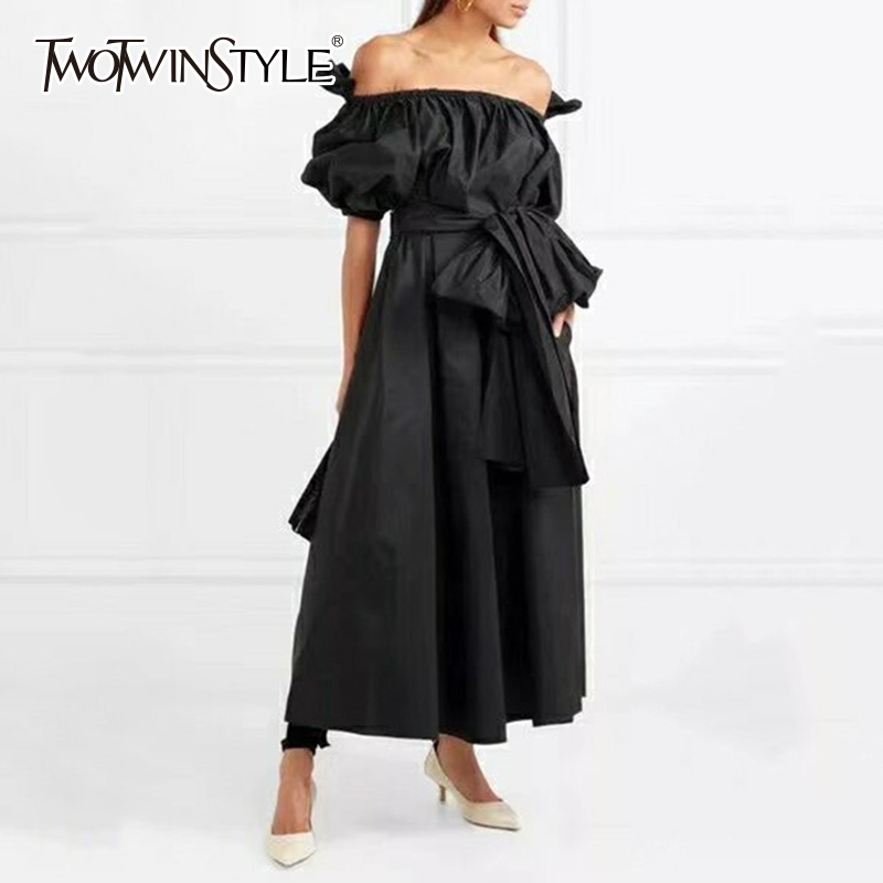 TWOTWINSTYLE Bow Dress Ladies Lace Up Strapless Ruffles Lantern Sleeve High Waist X Long Dresses 2019