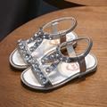 YNB Gold Silver Rhinestone Kids Girls Sandals 2017 Summer Children PU Shoes for Girls Kids Flat Princess Sandals for Girls