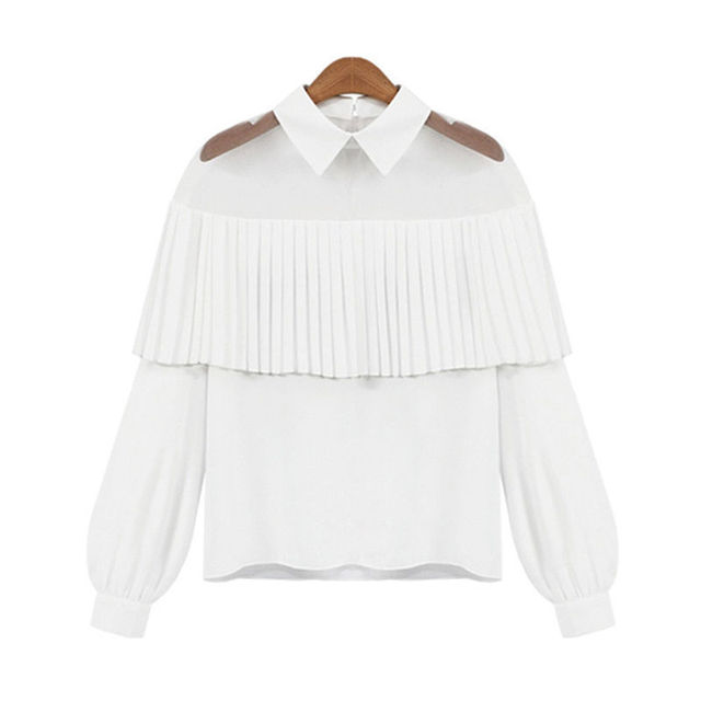 Brand New Fashion female elegant white blouses Chiffon peter pan collar casual shirt Ladies tops school blouse Women Plus Size