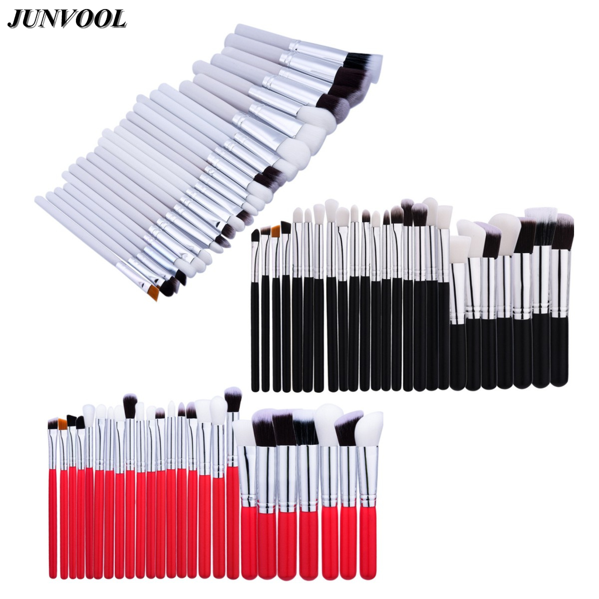 Red Professional Makeup Brush Set 25pcs High Quality Make Up Tools Kit Foundation Powder Blushes Eye Shader Black White Silver professional makeup brushes set make up brush tools kit foundation powder blushes white and black
