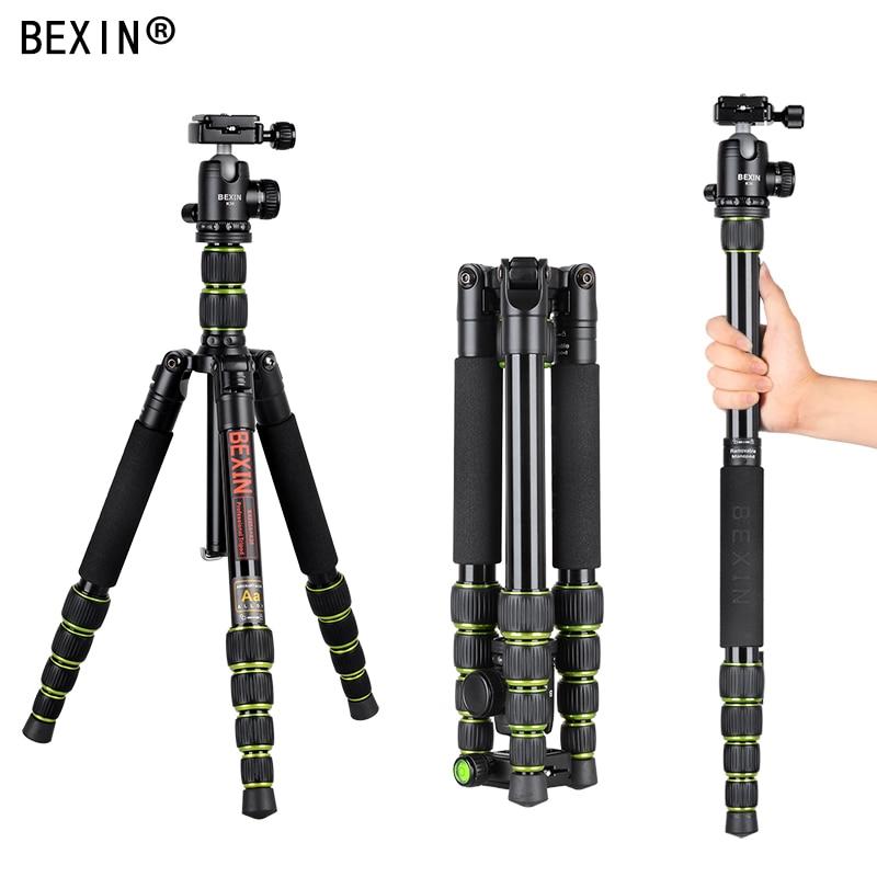 BEXIN Heavy Duty Professional Aluminum Camera tripod Portable stand Detach into monopod with Ball Head For DSLR camera