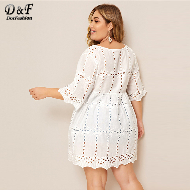 Dotfashion Plus Size White Solid Eyelet Embroidery Babydoll Blouse Women 2019 Boho Summer Half Sleeve Clothing Longline Tops 1