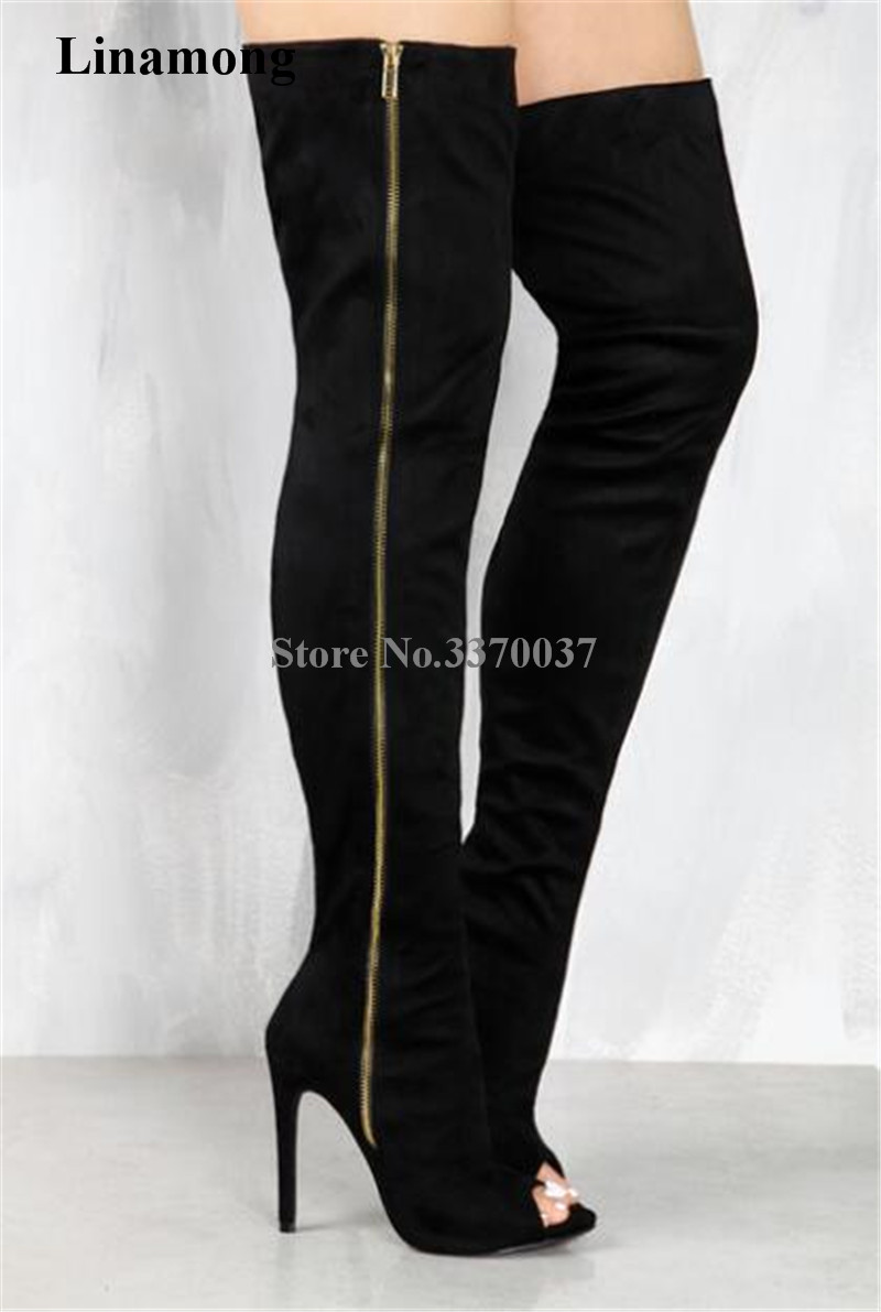 Women Fashion Open Toe Suede Leather Side Gold Zipper-up Over Knee Gladiator Boots Cut-out Elastic Thigh Long High Heel Boots women fashion open toe suede leather side gold zipper up over knee gladiator boots cut out elastic thigh long high heel boots