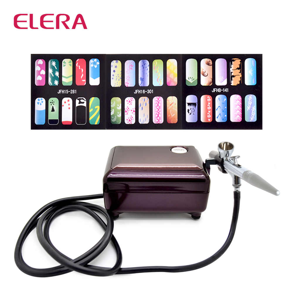 цены ELERA New Fashion Airbrush Compressor Kit Makeup Spray Gun for Body Nail Paint with Air Compressor, Horse+3 Stencils as a gift